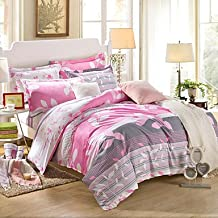 zhENfu Gray and pink 100% Cotton Bedclothes 4pcs Bedding Set Queen Size Duvet Cover Set,Queen