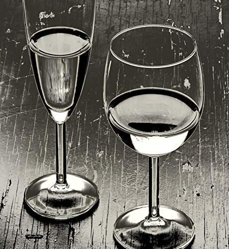 Stemware Still Life Black & White Photo CANVAS or METAL Fine Art Photo Unique Image Limited Edition Ready to Hang BW Photography Medium to Extra Large Vertical Wall Art 22x20 ()