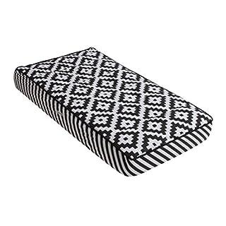 Bacati Love Warp Stripes Diaper Changing Pad Cover, Black/White