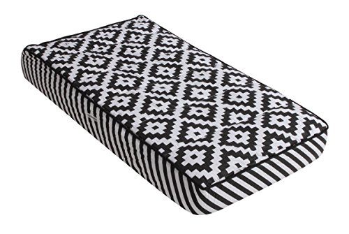 Bacati Love Warp Stripes Diaper Changing Pad Cover, Black/White (LOBKWSTCPC)