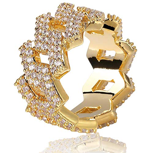 TOPGRILLZ Hip Hop 14mm Iced Out Lab Diamond Bling Miami Curb Link Engagement Ring for Men (Gold, 11)