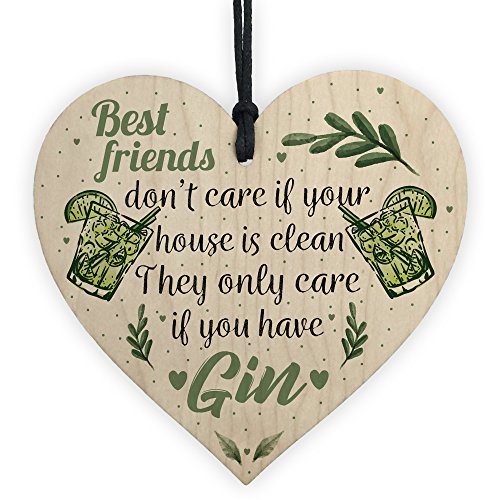 XLD Store Gin & Tonic Novelty Wooden Heart Friendship Gin Gift Funny Alcohol Kitchen Sign Decor ()