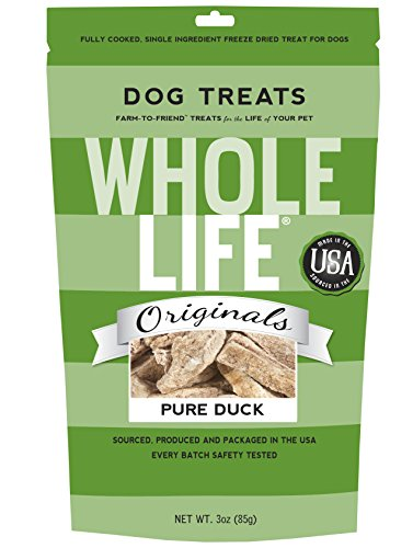 Whole Life Pet Single Ingredient USA Freeze Dried Duck Breast Treats for Dogs 3-Ounce
