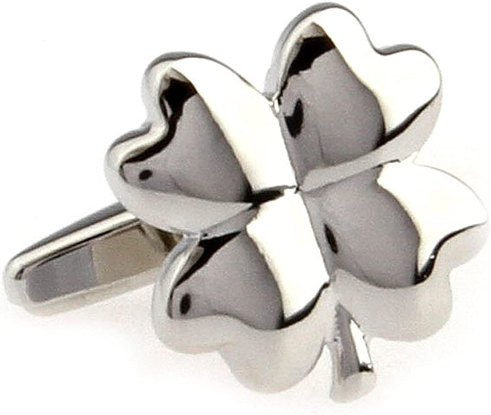 Silver Four Leaf Clover Cufflinks with Gift Bag Noel Gift Christmas Gift