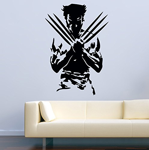 USA Decals4You | Superhero Wall Decals Silhouette Wolverine from X-Men Vinyl Decor Stickers MK0438 by USA Decals4You
