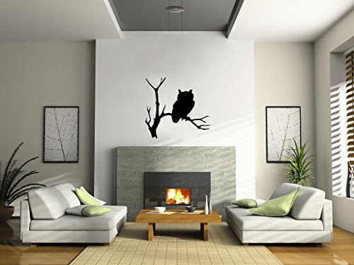 Owl and Tree Branch Silhouette Vinyl Wall Decal Sticker Graphic -