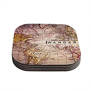 """Kess InHouse Sylvia Cook """"Wander"""" Coasters, 4 by 4-Inch, Pink/Pastels, Set of 4"""