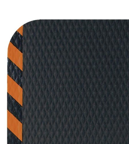 Andersen 423 Hog Heaven Nitrile rubber Anti-Fatigue Floor Mat with Orange Border, Nitrile/PVC Rubber Cushion Backing, 8' Length x 4.8' Width, 5/8'' Thick, Black by The Andersen Company