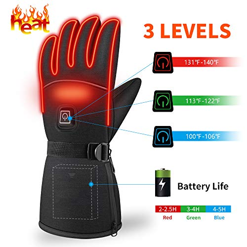 Winter Heated Gloves,Men Valentine Gifts Women Camping Hand Warmers Heating Gloves ,Waterproof 3 Levels Temperature Control Hand Warmers for Outdoor Cycling Skiing Skating Hiking Best Winter Gifts