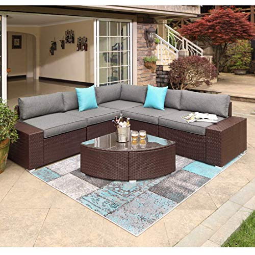COSIEST 6-Piece Outdoor Furniture Chocolate Brown Wicker Executive Sectional Sofa w Dark Grey Thick Cushions, Glass-Top 1/4-Circle Coffee Table, 2 Turquoise Pillows Incl. Waterproof Cover, Clips