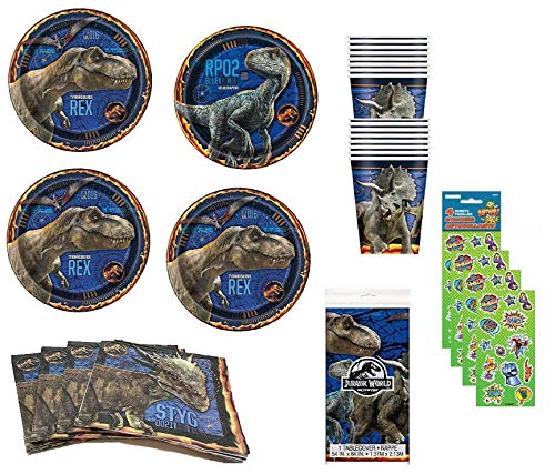 Dinosaur Party Jurassic World Fallen Kingdom Birthday Supplies Pack Including Dessert Plates, Lunch Plates, Cups, Napkins and Table Cover for 16 Guests