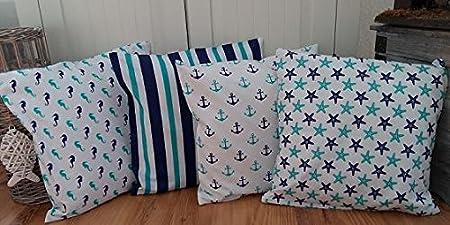 Amilian/® Dekokissen Kissenbezug Kissen 40cm x 60cm Seepferdchen