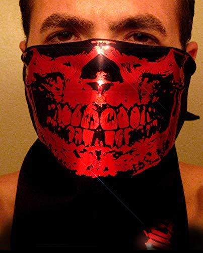 Red Chrome Skull on Black Bandana scarf half face biker dust - 1 Blood Red Foil