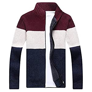 Stylish Coat A Large Number of Knitted Sweaters Warm up for The Shirt Sweater Jacket Leisure Autumn and Winter Men's a Mock-Neck Plus Velvet Stitching Color (Color : The Red, Size : Medium)