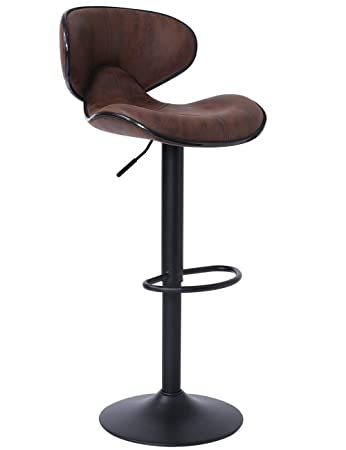 SUPERJARE Single Bar Stool, Swivel Barstool Chair with Back, Modern Pub Kitchen Counter Height, Retro Brown