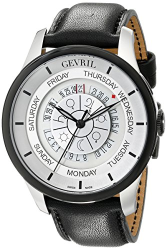 Gevril-Mens-2002-Columbus-Circle-Automatic-Stainless-Steel-Black-Hand-Made-Leather-Day-Date-Watch