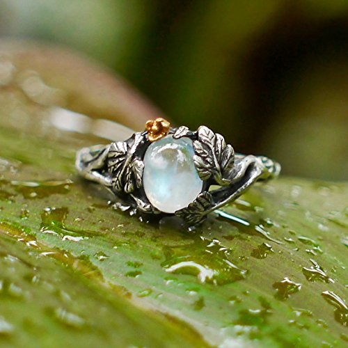 Sterling Silver Rainbow Moonstone Ring ''Daisy'' MADE TO ORDER, moonstone engagement ring,delicate ring,flower ring, antique ring by BlackTree