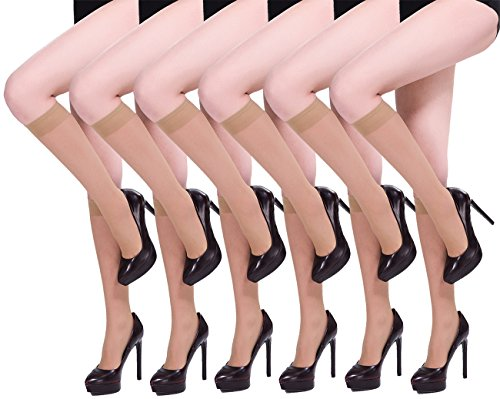 HONENNA 6 Pairs Women's Silky Knee High Sheer Stockings (One Size, Nude,6 Pairs)