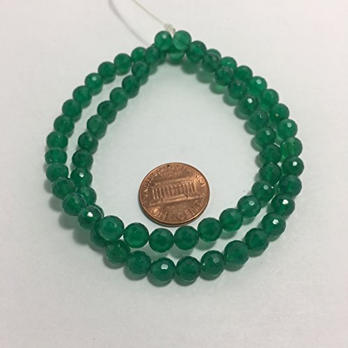 Natural Gemstone Faceted Round Beads, 15.5 Inch Jewelry Making Beads (6mm, Green Onyx)