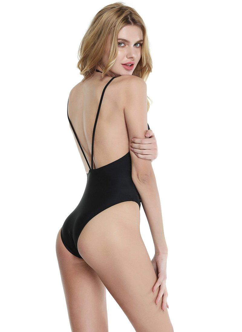 CHIC DIARY Women\'s Sexy Deep V Neck Strappy Backless One Piece Swimsuit Bikini,M