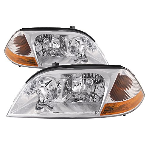 HEADLIGHTSDEPOT Chrome Housing Halogen Headlight Compatible with Acura MDX 2001-2003 Includes Left Driver and Right Passenger Side Headlamps