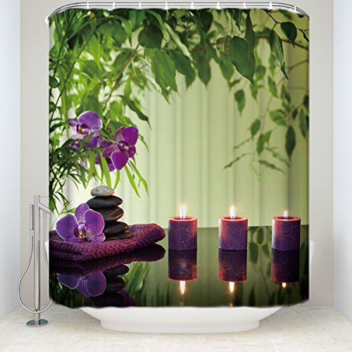 Spa Decor Shower Curtain SetZen Garden Theme Decor Bathroom Decor Set with Hooks,48
