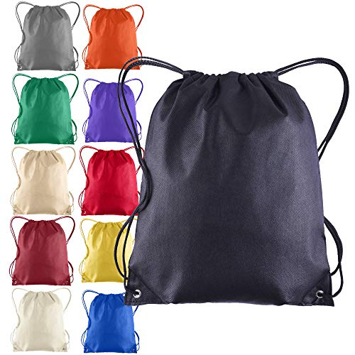 Pack of 25 - Non-Woven Promotional Drawstring Bags - Drawstring Backpack in BULK - String Backpack - String Bag - Drawstring Tote Bag - Cinch Bag - 13.5W x 15.5H (Mix-Assorted)