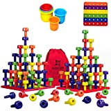 Toys : Stacking Peg Board Toy Set | Jumbo Pack | Montessori Occupational Therapy Fine Motor Skills for Toddlers and Preschooler, 60 Pegs & Board | 3 Free Bonuses, 6 Stacking Cups, Colorful Board, Carry Bag