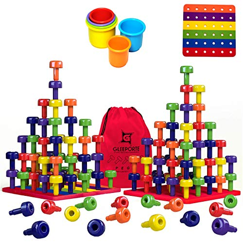 Read About Stacking Peg Board Toy Set | Jumbo Pack | Montessori Occupational Therapy Fine Motor Skil...