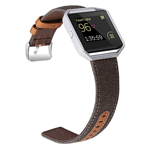 For Fitbit Blaze Bands, Jobese Soft Classic Canvas Fabric Straps with Genuine Leather Bands with Silver Metal Frame for Fitbit Blaze Accessories Wristbands (Large) (Silver Canvas Leather)