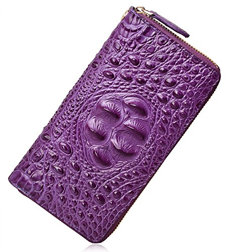 PIJUSHI Wristlet Wallet For Women Crocodile Leather Wallet Ladies Clutch Purse (8011 violet croco)