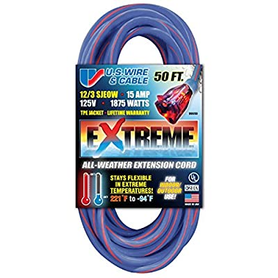 US Wire 25-Foot Blue Cold Weather Extension Cord with Lighted Plug