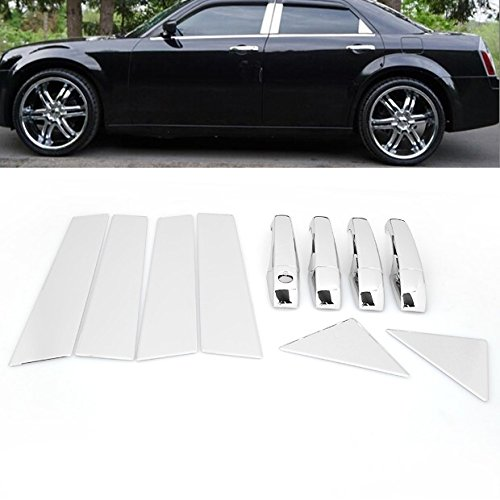 Chrome Side Door Handle Cover + Pillar Post Trims For Chrysler 300 300C 2005-2010 / Dodge Magnum ()