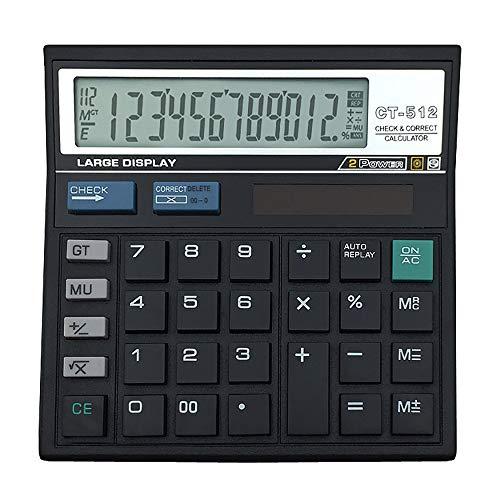 Price comparison product image YHML 12-Digit Display Scientific Calculator Solar Cell Large Screen Desktop Office Calculator,  Black