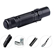 Olight® M2T Warrior LED Tactical Flashight Dual Switch 1200 Lumens with Cree XHP35 HD CW LED and 2 x CR123A Batteries Compact LED Torch Light for Tactical, Self-defense andOutdoor