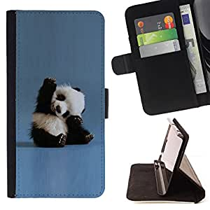 For Samsung Galaxy S5 Mini, SM-G800 Tiny Baby Panda Quote Blue China Animal Leather Foilo Wallet Cover Case with Magnetic Closure