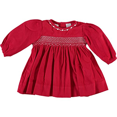 Carriage Boutique Baby Girl's Diamond Smocking Red Corduroy Long Sleeve Dress (9M)