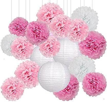 Decoración de Fiesta Pompom Flores,Abanicos de Papel Bola,Kit de Fiesta de Pompones,Papel para Colgar Bola Decoración,pompones de papel,Flores ...