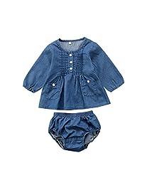 XARAZA Infant Baby Girls Long Sleeve Denim Dress Shirt Brief Shorts Outfits Set