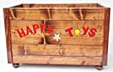 Large Wood Happy Toy Box, Painted and Engraved on Three Sides, Open Top
