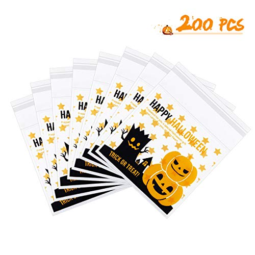 Cute Homemade Halloween Candy Bags (Lauren 200 Pack Happy Halloween Candy Bags Self-adhesive Cookie Bags Cellophane Treat Bags for Party Gift Supplies, 3.94 x 3.94 inch)