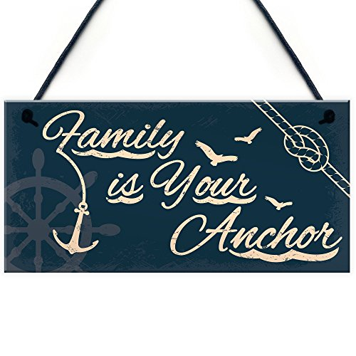 XLD Store Seaside Family is Your Anchor Shabby Chic Hanging Plaque Nautical Theme Bathroom/Kitchen Decor Gift Accessory ()