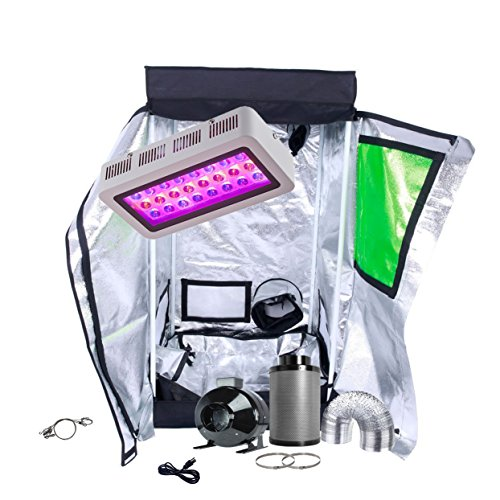 TopoGrow LED Grow Light Tent Kit Complete Package LED 300W Grow Light +24''X24''X48''T-DOOR Indoor Grow Tent +4'' Inline Fan Carbon Filter 25FT Ducting Clips Combo Indoor Hydroponic Growing System by TopoGrow