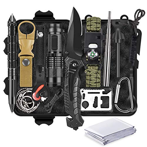 13 in 1 Survival Gear Kit, Fathers Day Idea Gifts for Dad, Outdoor Emergency Survival Tools for Camping Fishing Hunting…