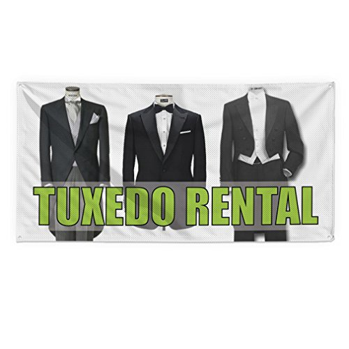 Mesh Tuxedo - Tuxedo Rental Outdoor Fence Sign Vinyl Windproof Mesh Banner With Grommets - 5ftx12ft, 12 Grommets
