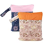 Baby Wet/Dry Bag Splice Cloth Diaper Waterproof Bags with Zipper Snap Handle Pack of 2 (Dragonflies and Dumbo)