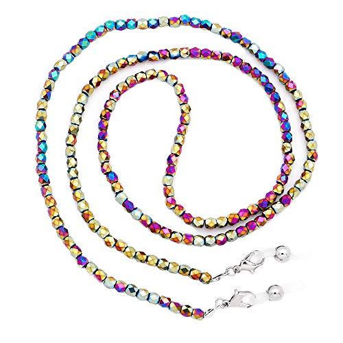 KAI Top Beaded Crystal Eyeglass Chain Glass Seed Bead Eyeglass Strap Sunglasses Holder Necklace Eyewear Retainer Lanyard (Rainbow)