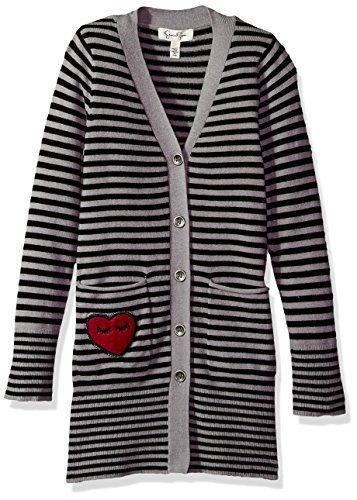 Jessica Simpson Girls' Big Coral Button Front Long Cardigan, Black/Grey Stripe, Large (Cardigan Girls Long)