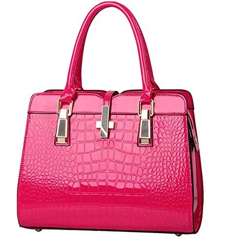 Laryana Women's Tote Croco-embossed Patent Leather Top Handle Satchel Shoulder Handbag Croco Embossed Leather Tote Bag