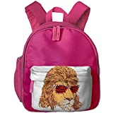 King Of The 80s Lion With Tiger Skin Sunglass Kids Cute Oxford Fabric School Backpack Bag Shoulder Daypack Handbag Pink